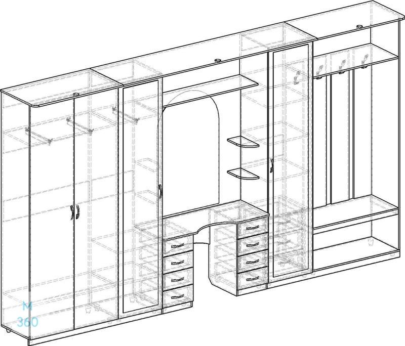 Классический распашной шкаф на заказ Арт 11