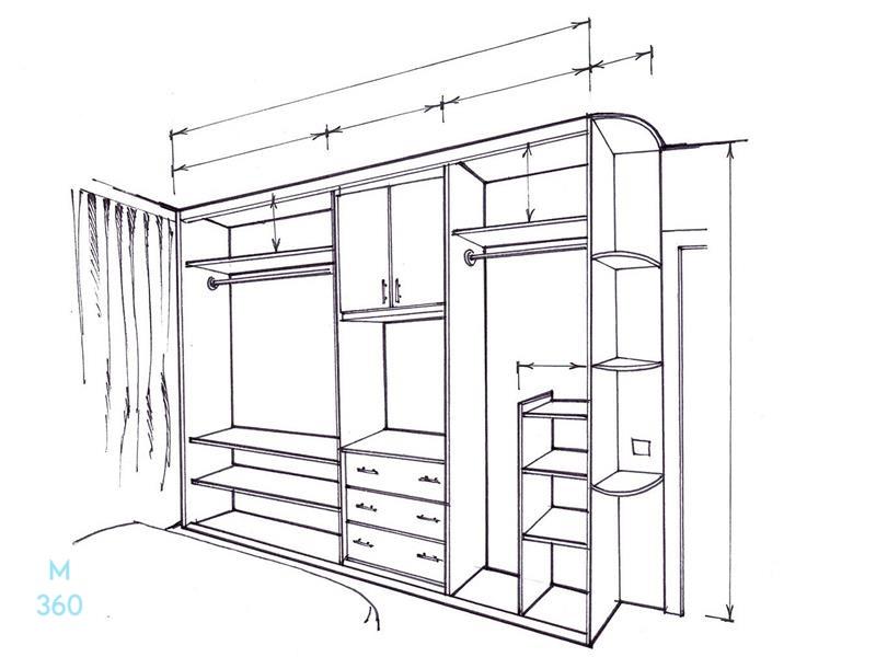 Современные встроенный шкаф на заказ Арт 5